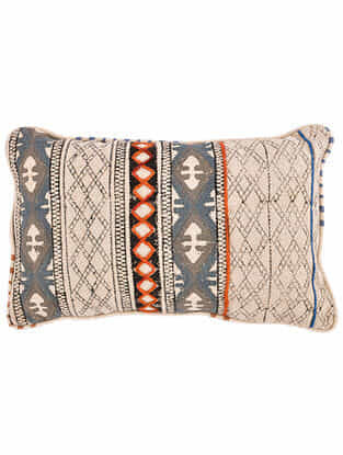 Virj Blue-Multicolor Block Printed Cotton Cushion Cover with Striped Backing and Piping with Recycled Silk Embroidery (21in x 13in)