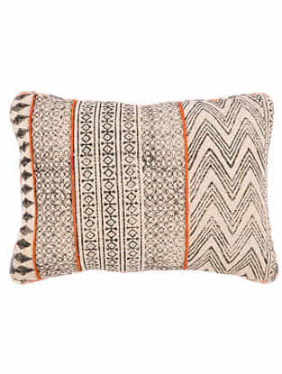 Naring Black-Multicolor Block Printed Cotton Cushion Cover with Striped Backing and Piping with Recycled Silk Embroidery (21in x 13in)