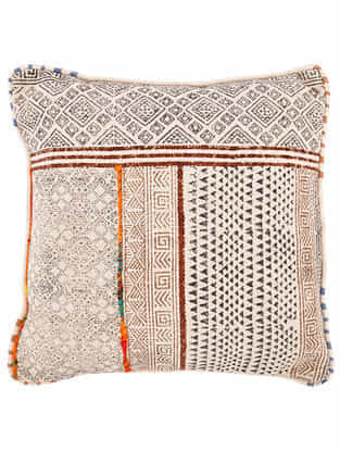Trikona Black-Multicolor Block Printed Cotton Cushion Cover with Striped Backing and Piping with Recycled Silk Embroidery (18in x 18in)