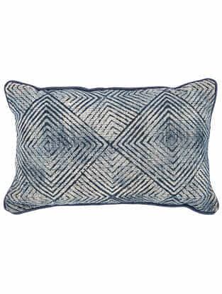 Varg Blue Block Printed Cotton Cushion Cover with Colored Backing and Piping (21in x 13in)