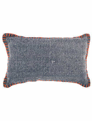 Ghana Blue Cotton Cushion Cover with Hand Stitching (21in x 13in)