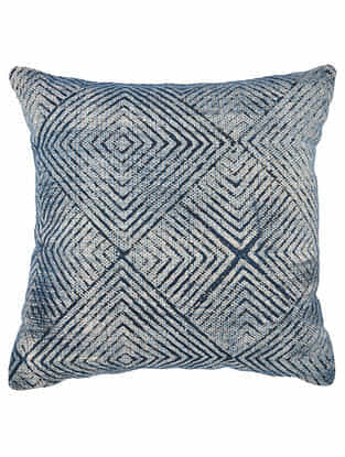 Varg Blue Block Printed Cotton Cushion Cover with Colored Backing (18in x 18in)