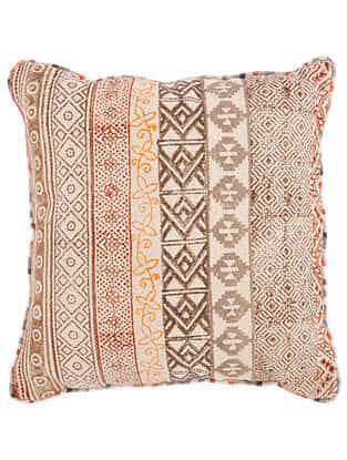 Varna Rust-Multicolor Block Printed Cotton Cushion Cover with Striped Backing and Piping (20in x 20in)