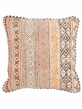 Varna Rust-Multicolor Block Printed Cotton Cushion Cover with Striped Backing and Piping (16in x 16in)