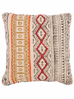 Pitah Red-Multicolor Block Printed Cotton Cushion Cover with Striped Backing and Piping with Recycled Silk Embroidery (20in x 20in)