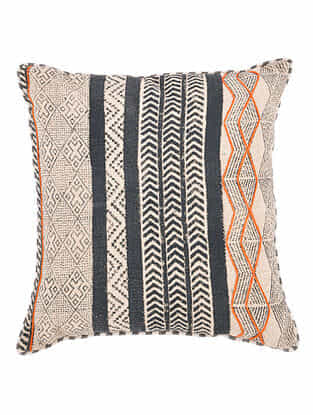 Nilah Blue-Multicolor Block Printed Cotton Cushion Cover with Colored Backing and Piping with Recycled Silk Embroidery (20in x 20in)