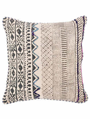 Lekha Blue and White Block Printed Cotton Cushion Cover with Striped Backing and Piping with Recycled Silk Embroidery (18in x 18in)