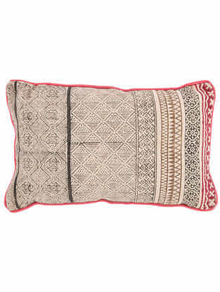 Vakr Black and White Block Printed Cotton Cushion Cover with Colored Backing and Piping (21in x 13in)