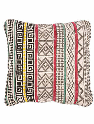 Paitarn Multicolor Block Printed Cotton Cushion Cover with Striped Backing and Piping (16in x 16in)