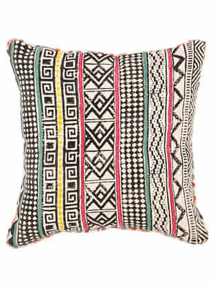Paitarn Multicolor Block Printed Cotton Cushion cover with Striped Backing and Piping (18in x 18in)