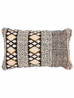 Varja Multicolor Block Printed Cotton Cushion cover with Colored Backing and Piping with Recycled Silk Embroidery (21in x 13in)