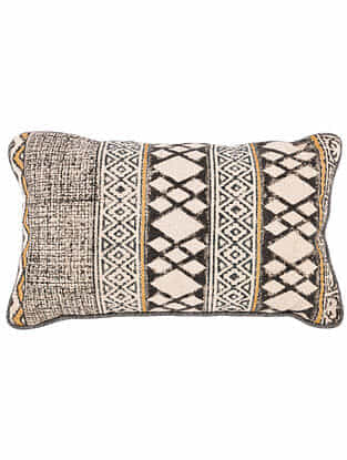 Varja Black and White Block Printed Cotton Cushion cover with Colored Backing and Piping (21in x 13in)