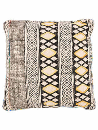 Varja Multicolor Block Printed Cotton Cushion Cover with Colored Backing and Piping With Recycled Silk Embroidery (20in x 20in)