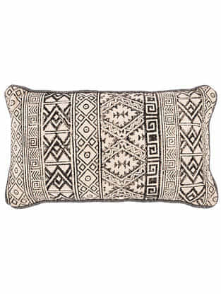Maze Black and White Block Printed Cotton Cushion cover with Colored Backing and Piping (21in x 13in)