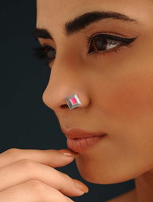Pink Enameled Silver Nose Pin