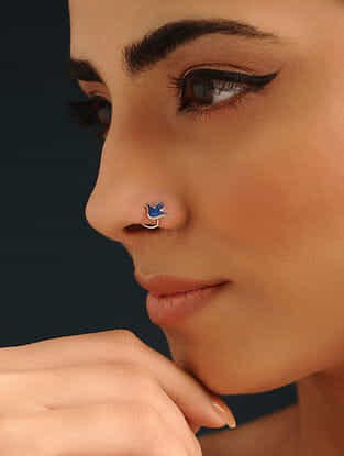 Blue Enameled Silver Nose Pin