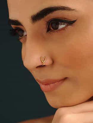 Gold Tone Silver Nose Pin