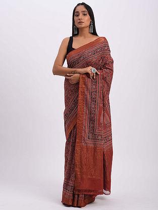 Red Handwoven Ajrakh Mangalgiri Cotton Saree