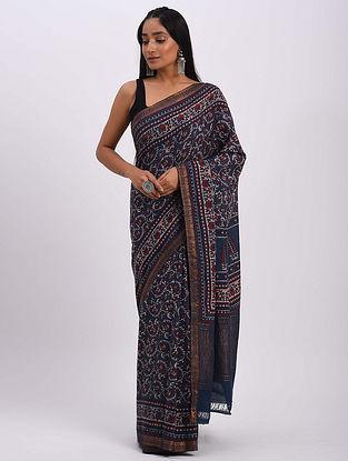 Indigo Handwoven Ajrakh Mangalgiri Cotton Saree
