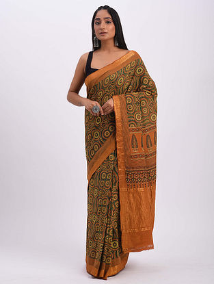 Brown-Green Handwoven Ajrakh Mangalgiri Cotton Saree