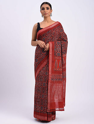 Red Handwoven Ajrakh Mangalgiri Cotton Saree