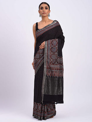 Black Handwoven Ajrakh Mangalgiri Cotton Saree