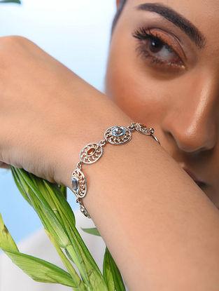 Blue Topaz and Citrine Silver Bracelet