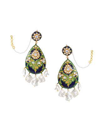Green Blue Gold Tone Enameled Earrings With Ear Chains And Pearls