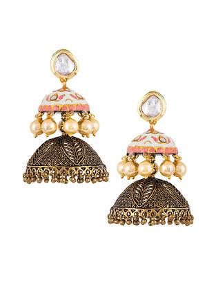 Pink Blue Gold Tone Enameled Jhumki Earrings
