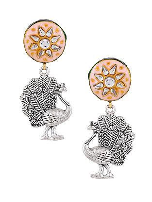 Pink Silver Tone Enameled Earrings