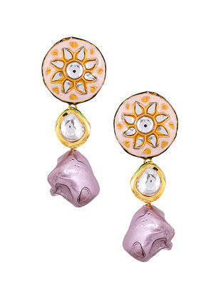 Pink Gold Tone Enameled Kundan Earrings With Pearls