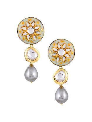 Blue Gold Tone Enameled Kundan Earrings With Pearls