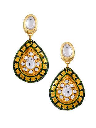 Green Gold Tone Enameled Kundan Earrings