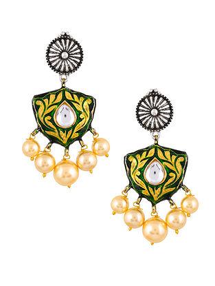 Green Dual Tone Enameled Earrings With Pearls