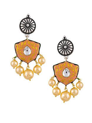 Peach Dual Tone Enameled Earrings With Pearls