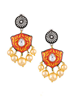 Red Dual Tone Enameled Earrings With Pearls