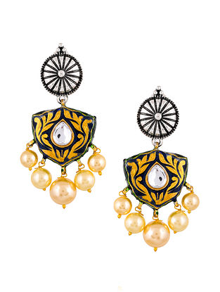 Blue Dual Tone Enameled Earrings With Pearls