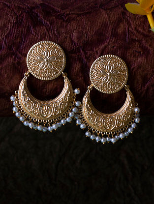 Gold Tone Handcrafted Chandbali Earrings with Pearls