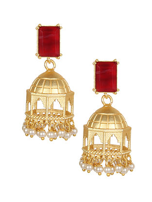 Red Gold Tone Handcrafted Jhumki Earrings With Pearls