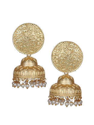 Gold Tone Handcrafted Jhumki Earrings With Peals