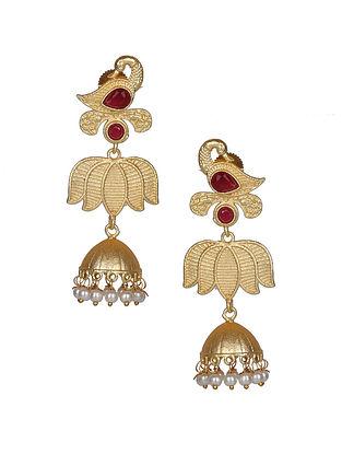 Maroon Gold Tone Handcraft Jhumki Earrings With Pearls