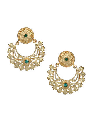 Green Blue Gold Tone Handcrafted Earrings