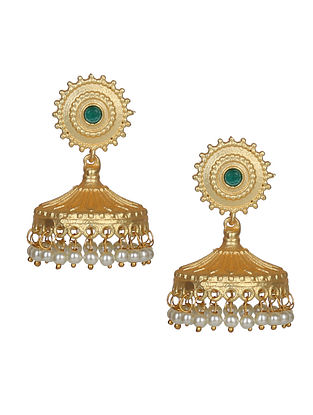 Green Gold Tone Handcrafted Jhumki Earrings With Pearls