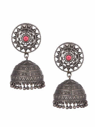 Maroon Silver Tone Tribal Jhumki Earrings