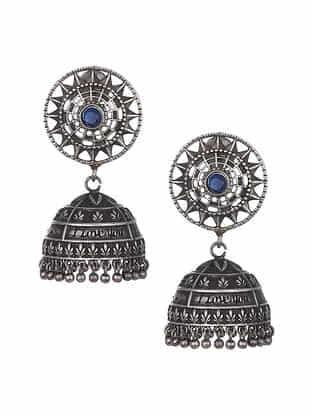 Blue Silver Tone Tribal Jhumki Earrings