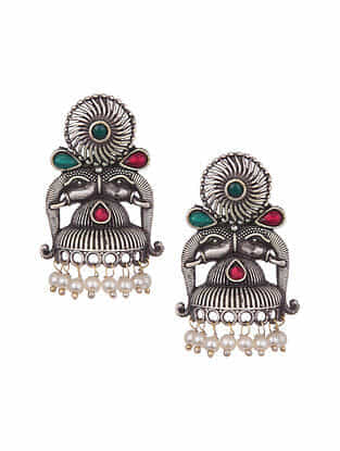 Multicolored Silver Tone Tribal Earrings With Pearls