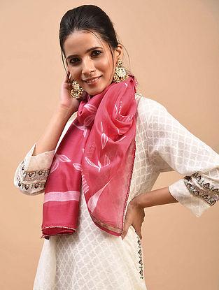 Pink Shibori Dyed Chanderi Stole