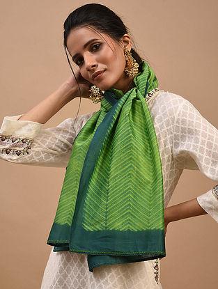 Green Shibori Dyed Chanderi Stole