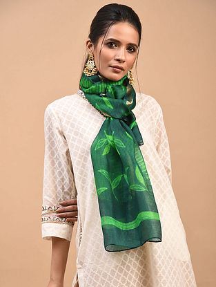 Green Shibori Dyed Kota Silk Stole