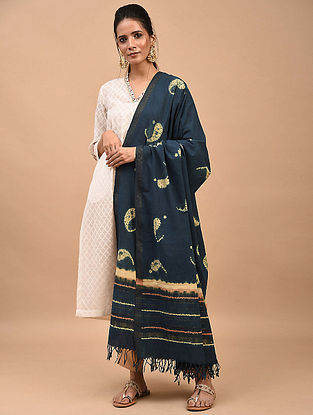 Navy Blue Shibori Dyed Cotton Dupatta